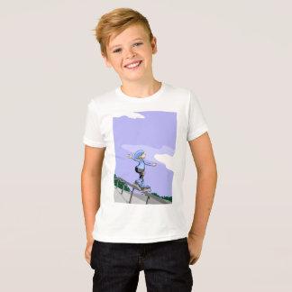 Young skate on wheels making balance T-Shirt