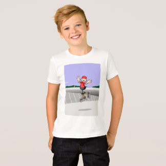 Young skate on wheels manages to make three jumps T-Shirt