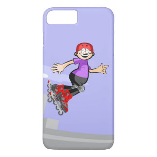 Young skate on wheels of red cap jumping iPhone 8 plus/7 plus case