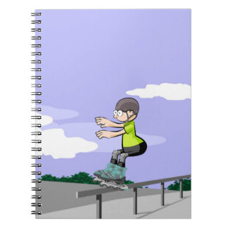 Young skate on wheels on a railing notebook