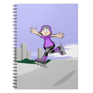 Young skate on wheels ovationing its feat notebooks
