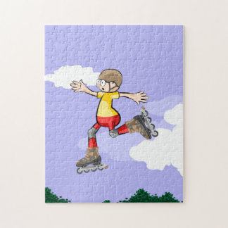 Young skate on wheels running in the air jigsaw puzzle