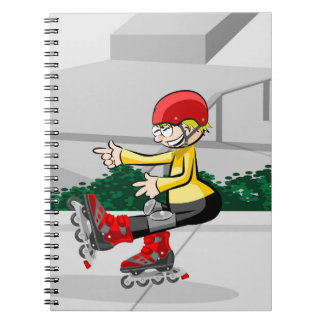 Young skate on wheels showing its ability notebooks