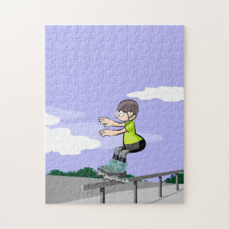 Young skate on wheels skidding a railing jigsaw puzzle