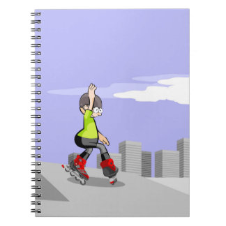 Young skate on wheels skidding in the incline spiral notebook