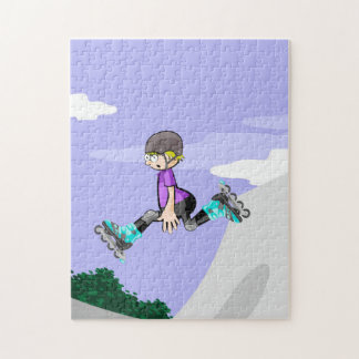 Young skate on wheels walking in the air jigsaw puzzle