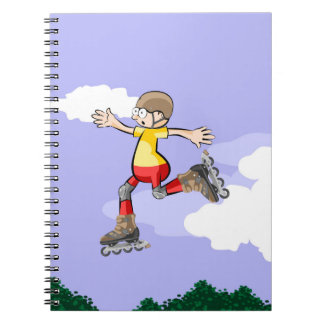 Young skate on wheels walking in the air notebooks
