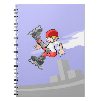 Young skate on wheels with the leg in stop notebook