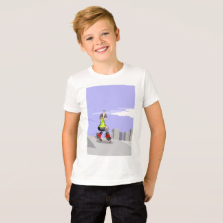 Young skate on wheels zigzagging in the incline T-Shirt