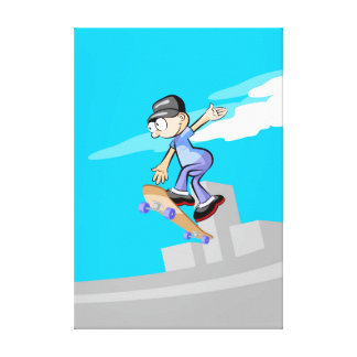 Young Skateboard jumping in the incline Canvas Print