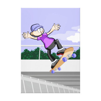 Young Skateboard jumping in the street Canvas Print