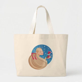 young smiling  long hair  woman  with symbol of ho canvas bag
