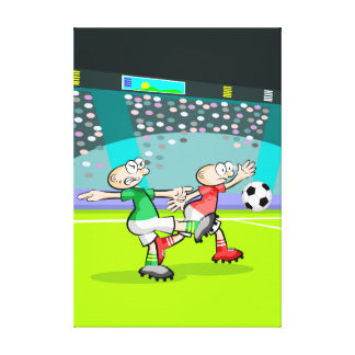 Young soccer kicking the ball to the arc canvas print