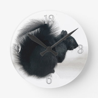 Young Squirrel in Winter Photo Wall Clocks