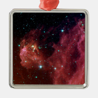 Young Stars Emerge from Orion's Head Silver-Colored Square Ornament