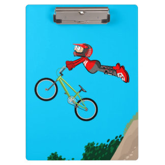 Young super BMX jumping with its bicycle Clipboard