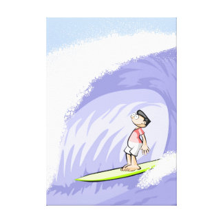 Young surf in its table enjoys the water tunnel canvas print