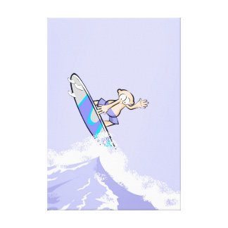 Young surf is struck by a great wave canvas print