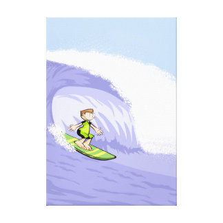 Young surf leaving deciliter water tunnel canvas print