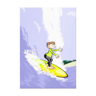 Young surf surfing a dangerous wave canvas print