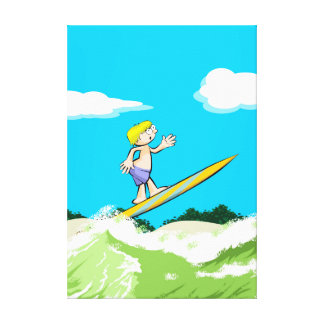 Young surf surfing with style canvas print