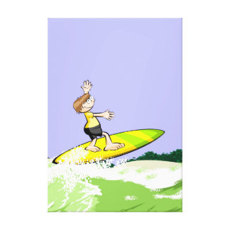 Young surf trying to stay in the table canvas print