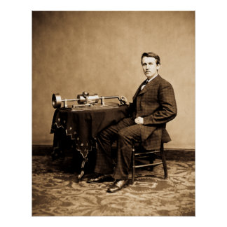 Young Thomas Edison and his Phonograph Machine Poster