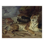 Young tiger playing with his mother, 1830 (oil on poster