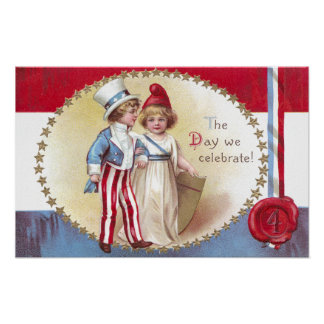 Young Uncle Sam Escorts Columbia on 4th of July Poster