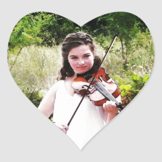 Young Violinist Heart Sticker