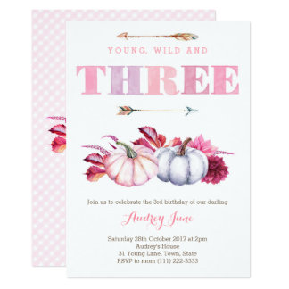 Young Wild and Three, boho 3rd Birthday Party Card
