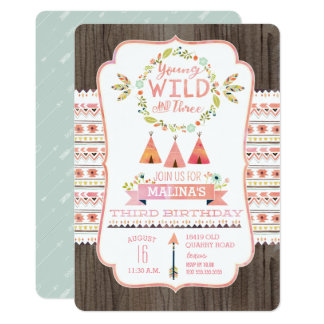 Young, Wild, and Three Girl Birthday Invitations