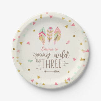 Young wild and three Paper Plates Pink Gold 3rd