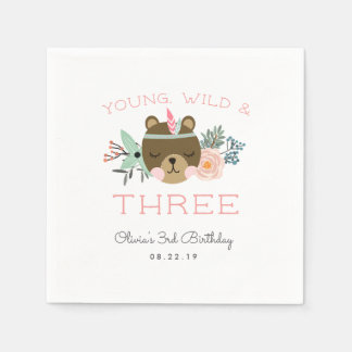 Young, Wild & Three Birthday Party Disposable Napkin