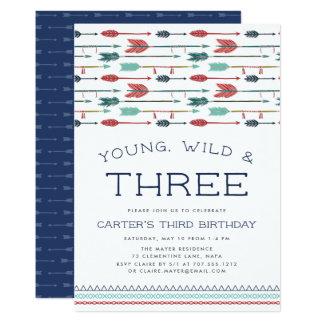 Young, Wild & Three Birthday Party Invitation