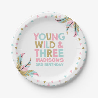 Young Wild & Three Birthday Party Paper Plate 7""