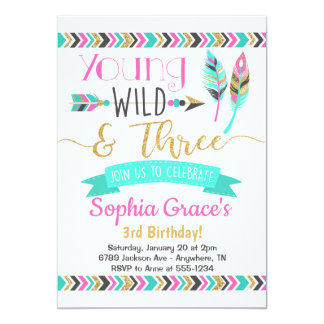 Young Wild & Three Girls Birthday Invitation