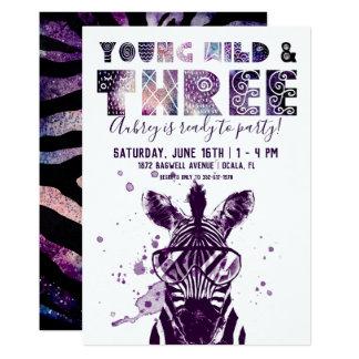 Young, Wild & Three | Rockstar Zebra Card