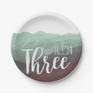 Young Wild & Three | Third Birthday Party 7 Inch Paper Plate