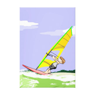 Young Windsurf directing the candle to sail Canvas Print