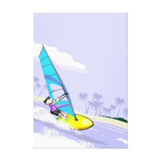 Young Windsurf sailing by the coast Canvas Print