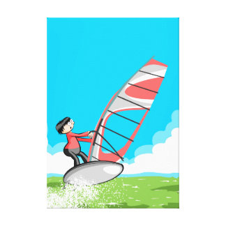 Young Windsurf sailing in calm waters Canvas Print