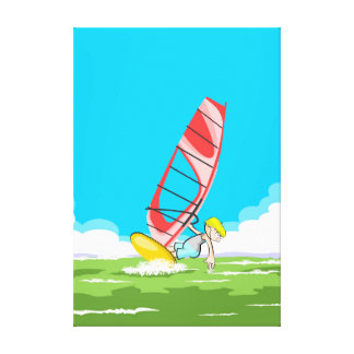 Young Windsurf touching the water with the hand Canvas Print