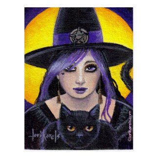 Young Witch and Cat Postcard