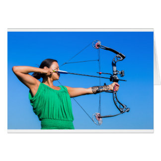 Young woman aiming arrow of compound bow card