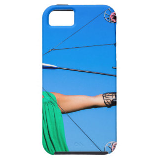 Young woman aiming arrow of compound bow iPhone 5 cover