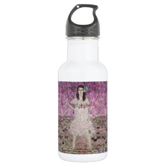 Young Woman and Pink Flowers 532 Ml Water Bottle