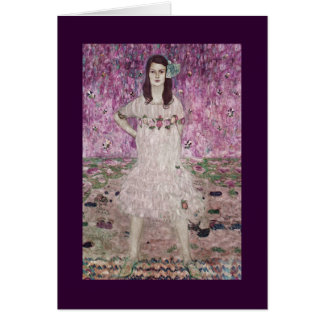 Young Woman and Pink Flowers Card