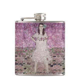 Young Woman and Pink Flowers Hip Flask