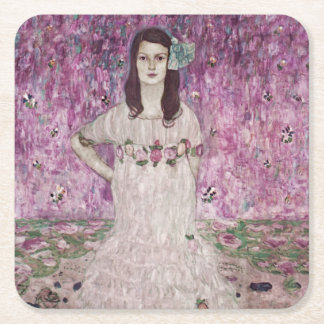 Young Woman and Pink Flowers Square Paper Coaster